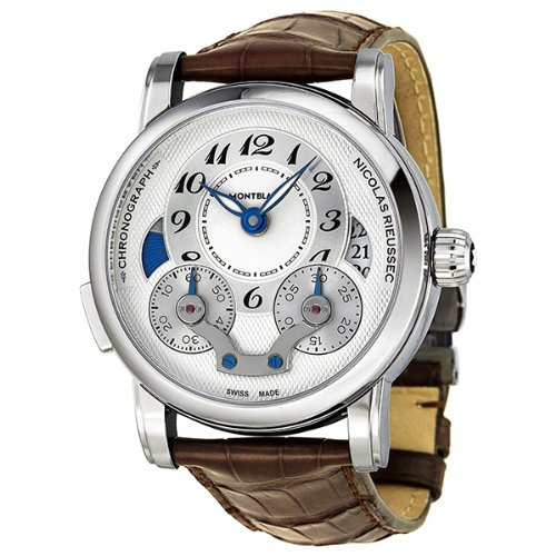Montblanc Nicolas Rieussec Chronograph Automatic Silver Dial Brown Leather Mens Watch 106487