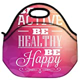 Snoogg Typographic Poster Design Be Active Be Healthy Be Happy Travel Outdoor Carry Lunch Bag Picnic Tote Box Container Zip Out Removable Carry Lunchbox Handle Tote Lunch Bag Food Bag For School Work Office