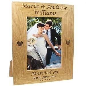 Wedding Gifts For Bride And Groom Amazon : Gift, Engraved Oak Wedding Photo Frame, Bride and Groom Gift: Amazon ...