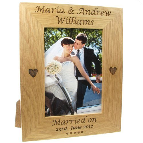 Wedding Gift, Engraved Oak Wedding Photo Frame, Bride and Groom Gift