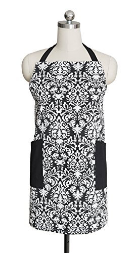 cotton-craft-damask-hostess-chef-apron-with-tailored-double-pockets-black-white-soft-yet-durable-100