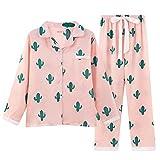 Big Girls/Teen Girls/Women's Cacti Sleepwear Long Sleeve Pajama With PJ Set (XL, Cacti)