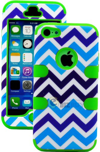 Mylife (Tm) Lime Green + Blue Zig Zag Style 3 Layer (Hybrid Flex Gel) Grip Case For New Apple Iphone 5C Touch Phone (External 2 Piece Full Body Defender Armor Rubberized Shell + Internal Gel Fit Silicone Flex Protector + Lifetime Waranty + Sealed Inside M