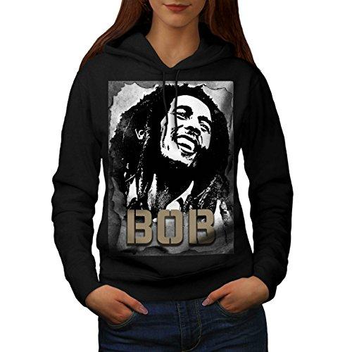 Bob Marley Sorridente Famoso Da donna Nuovo Nero L Felpa Con Cappuccio | Wellcoda