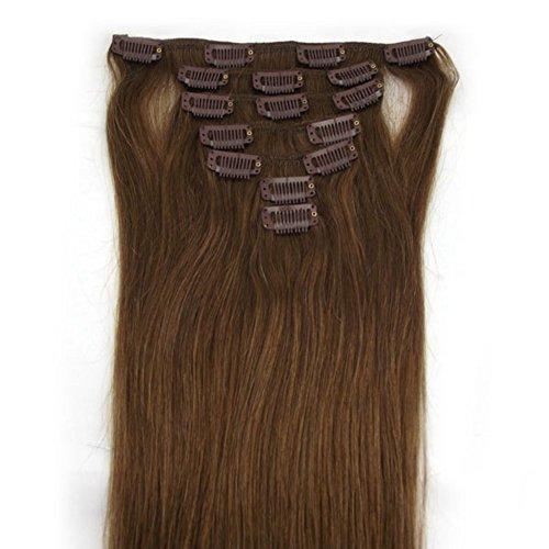RemyHair Remy Echthaar Haarverlaengerung Clip-In-Extensions 38CM 16clips 70g#8 mittelbraun