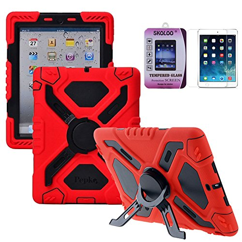 [Skoloo iPad Mini 3 Silicone Plastic Kid Proof Extreme Duty Dual Durable Stylish Great Value Protective Back Cover Case with Kickstand and Sticker + Skoloo 9H 0.32mm Tempered-Glass Screen Protector for Apple iPad Mini 1 2 3 & iPad Mini with Retina Display - Rainproof Sandproof Dust-proof Shockproof (SL-TG01)] (Master Chief Suit For Sale)