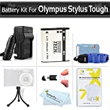 Battery And Charger Kit For Olympus Stylus Tough 8010 6020 TG-610 TG-810 TG-820 iHS TG-830 iHS, TG-630 iHS, TG-850 iHS, TG-860 Digital Camera Includes Replacement LI-50B Battery + AC/DC Charger + More