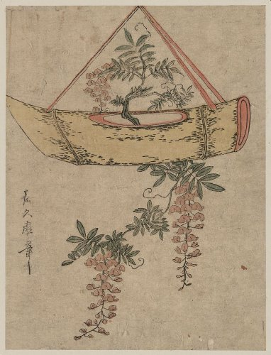 Poster of historic Japanese Art: Wisteria in a boat-shaped flower container WHOLESALE package of 25 posters.