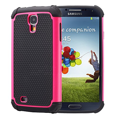 Shock Proof Heavy Duty Hybrid Armour Dual Layer Defender Bauarbeiter Schutzhülle, Silikon, rose, Samsung Galaxy S4 Mini (i9190)