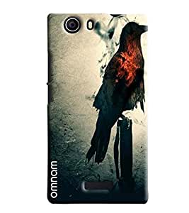 Omnam Black Eagle With Red Feather Printed Designer Back Cover Case For Micromax Nitro 2 E311