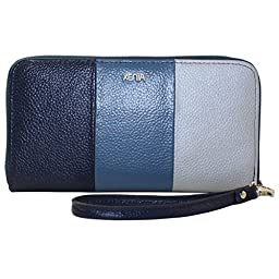 Xenia Style - Women\'s Zip Around Clutch Handbag - Use As a Wallet or Purse - Blue White Genuine Leather