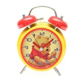 Bazaar Pirates Pooh Alarm Clock, Old Age, Old Fashioned, Kids Room Table Clock (Steel) (Yellow-Red)