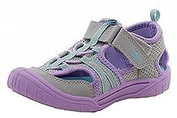 OshKosh B\'Gosh JAX2-G Open Bump Toe Sandal (Toddler/Little Kid), Silver/Purple, 10 M US Toddler