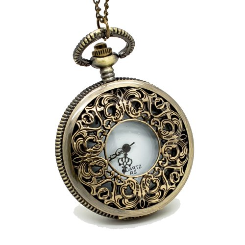 Vantasy Elegant Vintage Brass Color Carving Hollow Flower Pocket Watch Chain Pendant Size: 1.9X1.9X0.6