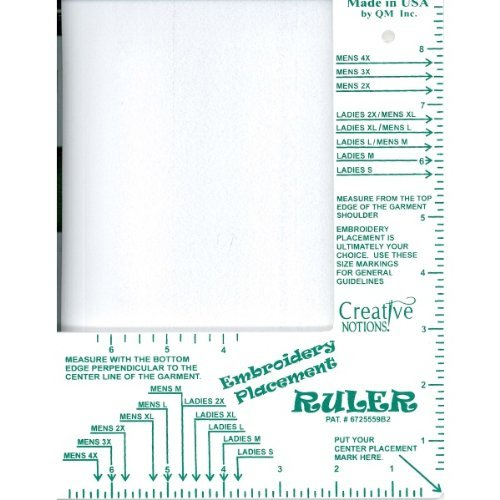 Embroidery Placement Ruler Adult Shirts Size Small - 4XL