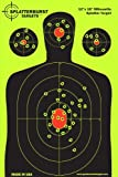 "10 Pack - 12""x18"" Silhouette Splatterburst Target - Instantly See Your Shots Burst Bright Florescent Yellow Upon Impact !"
