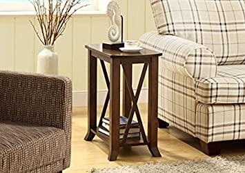 CHERRY BROWN VENEER ACCENT SIDE TABLE (SIZE: 24L X 12W X 24H)