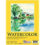 "U.S. Art Supply 9"" x 12"" Premium Heavy-Weight Watercolor Painting Paper Pad, 140 lb. (300gsm), Pad of 12-Sheets"