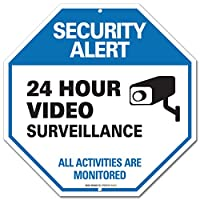 """Video Surveillance Sign - CCTV Security Alert - 24 Hour Surveilance All Activities Are Monitored Sign - Legend"""" Large 12 X 12 Octagon Rust Free 0.40 Aluminum Sign from Sigo Signs"""