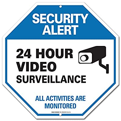 "Video Surveillance Sign - CCTV Security Alert - 24 Hour Surveilance All Activities Are Monitored Sign - Legend"" Large 12 X 12 Octagon Rust Free 0.40 Aluminum Sign"