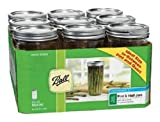 Ball Jar Wide Mouth Pint and Half Jars with Lids and Bands, Set of 9