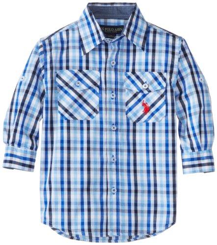 U.S. Polo Assn. Little Boys' Long Sleeve Rollup Plaid Shirt, White, 5/6