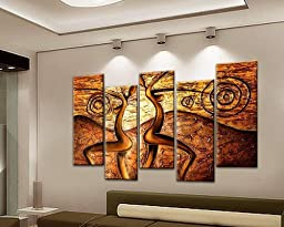 Sangu 100% Hand Painted Wood Framed 5-piece Hot Sale People Dance Modern For Abstract Oil Paintings Gift Canvas Wall Art Paintings For Living Room.