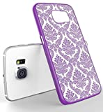 Galaxy Note 4 Case, LA GO GO(TM) Beauty Damask Lace Vintage Design Rubberized Ultra Slim Coating Print Hard Hybrid Case Cover Fit for Samsung Galaxy Note 4 N9100 (Purple, Galaxy Note 4)
