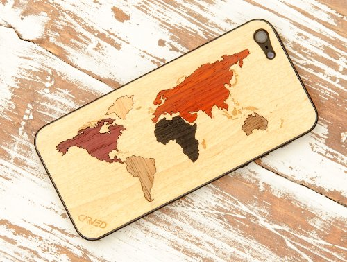 Best Price iPhone 5 Skin - World Map Inlay Front & Back Cover Made in the USA