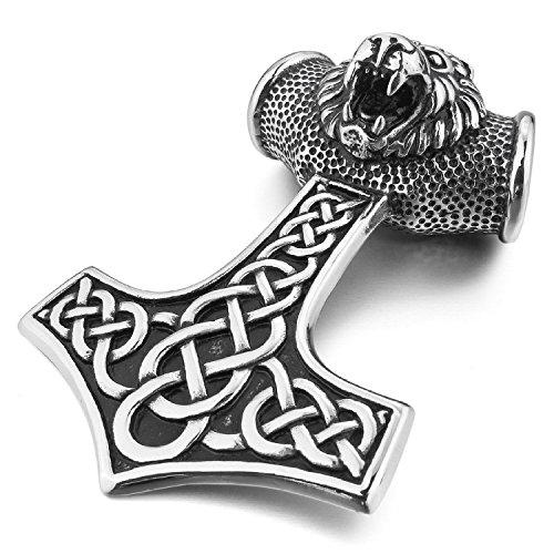 """MENDINO acciaio INOX Lion Thors Hammer Celtic-Collana con ciondolo da uomo in argento con catena 55,88 (22"""") cm"""