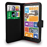 Nokia Lumia 1320 Black Leather Wallet Flip Case Cover Pouch + Free Screen Protector + Polishing Cloth