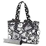 Belvah Quilted Floral Diaper Bag (Black/ White)
