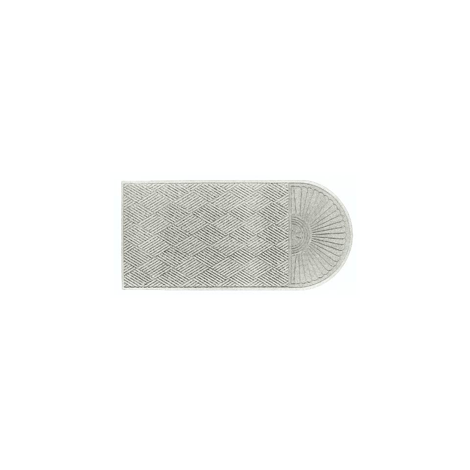 Andersen 272 Waterhog Grand Classic Polypropylene Fiber Half Oval Entrance Indoor/Outdoor Floor Mat, SBR Rubber Backing, 2.3 Length x 4 Width, 3/8 Thick, White