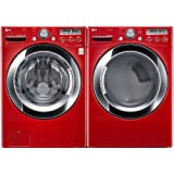 "LG PAIR SPECIAL-""WILD CHERRY RED"" Ultra Large Capacity Laundry System with Steam Technology (WM3250HRA+DLEX3250R)"