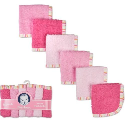 Gerber 6 pack Woven Washcloths 100% Cotton 9 x 9 Girl Colors- Colors May Vary - 1