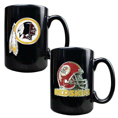 Nfl Washington Redskins Two Piece Coffee Mug Set- Primary & Helmet Logo