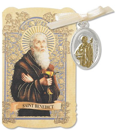 Mens Womens St Benedict Icon Christian Prayer Folder with Patron Saint Medal Catholic Religious Gifts