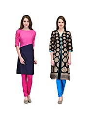 Cenizas Women's Cotton Black Kurtas Pack Of 2 ( 2168PNK & 2169BLK) - B012FCCR8S