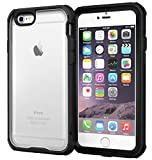 roocase iPhone 6 Case, [Glacier TOUGH] iPhone 6 (4.7) Hybrid Scratch Resistant Clear PC / TPU Armor Full Body Protection Case Cover with Built-in Screen Protector for Apple iPhone 6 4.7, Granite Black