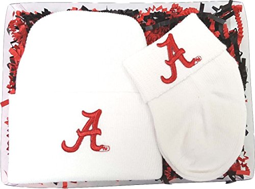 Alabama Crimson Tide Newborn Baby Knit Cap and Socks Gift Set