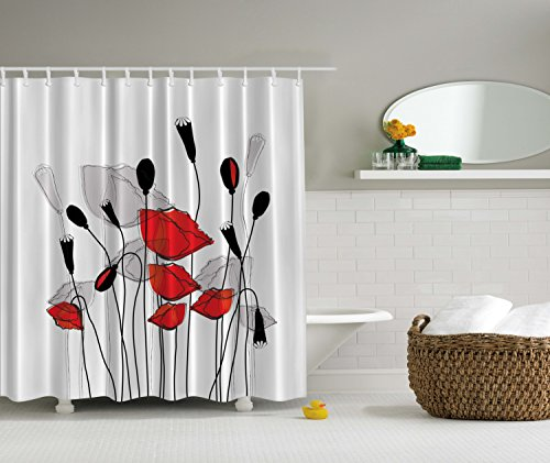 Blooming Flowers Poppy Poppies Art Prints Floral Decor Bouquet Garden Branches Carnation Clover Blossom Sprout Buds Floral Curtains Bathroom Fabric Black Red and White Shower Curtain (Red White Curtains compare prices)