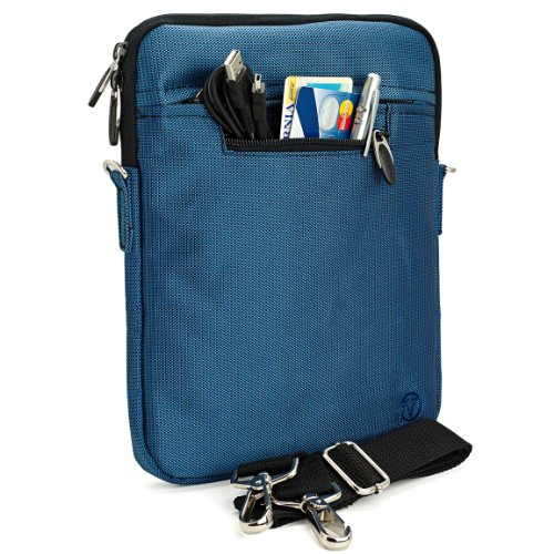 Navy Blue Mighty Nylon Jacket Slim Compact Protective Shoulder Bag Sleeve Carrying Case Cover With Accessories Compartment For The Coby Tfdvd7052 7-Inch Portable Tablet Dvd/Cd/Mp3 Player