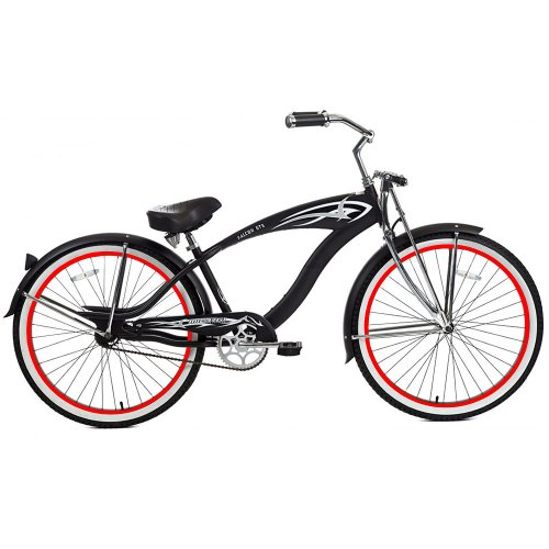 Micargi GTS Beach Cruiser Bike, Matte Black Falcon, 26-Inch