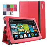 Poetic Slimbook Case for All New Kindle Fire HD 7 2nd Gen (2nd Generation 2013 Model) 7inch Tablet Red (with Smart...