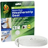 Duck Brand 282433 Heavy Duty Self-Adhesive Rubber Weatherstrip Seal for Large Gap, 3/8-Inch x 1/4-Inch x 17-Feet