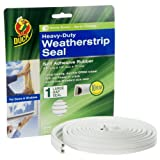 Duck Brand 281231 Heavy Duty Self-Adhesive Rubber Weatherstrip Seal for Large Gap, 3/8-Inch x 1/4-Inch x 17-Feet