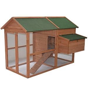 "Pawhut 71"" Wooden Backyard Hen House Chicken Coop"