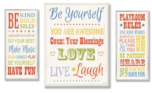 The Kids Room by Stupell  Oversized Wall Plaque Trio, Rainbow