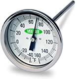 "Vee Gee Scientific 82160-6 Dial Soil Thermometer, 6"" Stainless Steel Stem, 3"" Dial Display, -40 to 160-Degree F"
