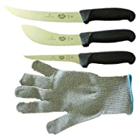 Forschner-Victorinox 5 Inch Boning Knife, 8 Inch Breaking, Knife 6 Inch Skinning Knife & Large Size Polar Bear Cut Resistant Glove